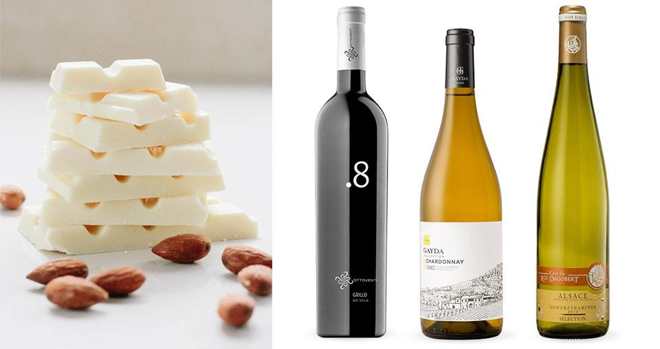 Bílá čokoláda a bílé víno